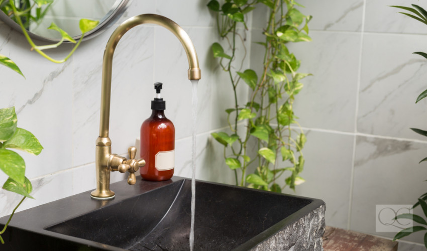 brass faucet interior decorating trend