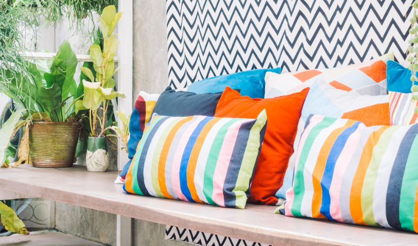 outdoor living space patterns and bold color trends