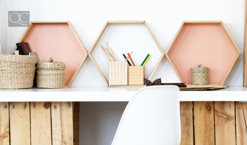 interior decorating job - creative hexagonal shelves