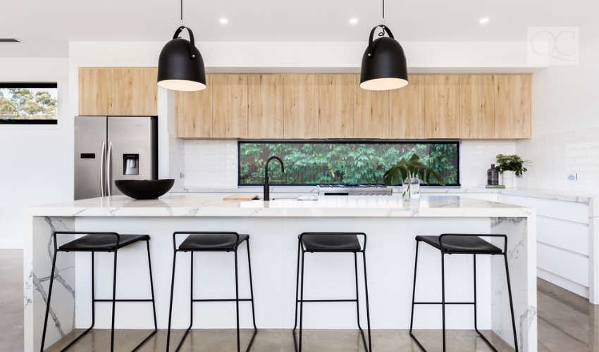 sleek kitchen appliances and contemporary lighting fixtures is a hot interior decorating trend 2019