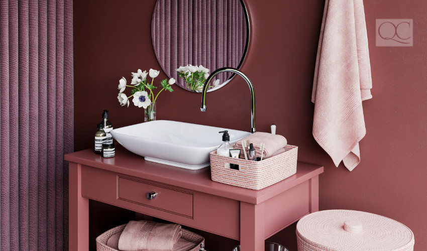 pink vanity in the bathroom