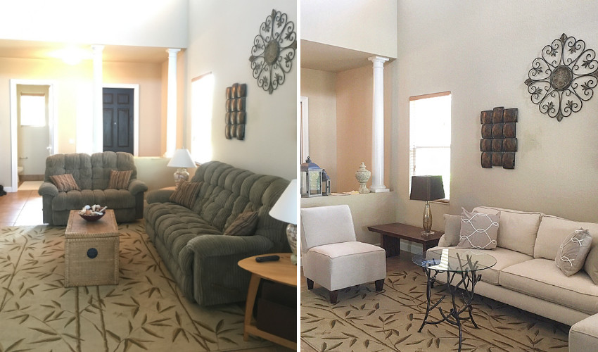 Living room home staging transformation