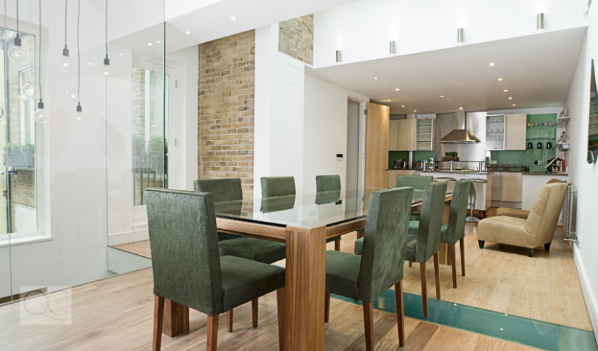 modern home dining room with luxury furnishings