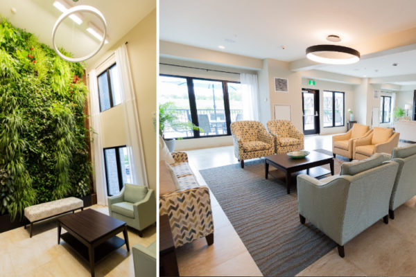 Aquatria Retirement Residence Lobby - Staging and Design by QC Design School graduate Chantal Marion
