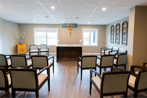 Religious space Aquatria Retirement Residence - Staging and Design by QC Design School graduate Chantal Marion
