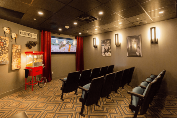 Movie Theater Basement Aquatria Retirement Residence - Staging and Design by QC Design School graduate Chantal Marion