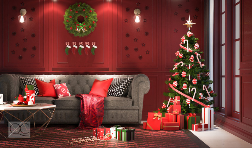 Red Living Room with Christmas Decoration