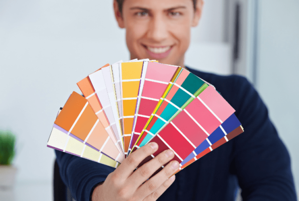 professional color consultant holding up swatches