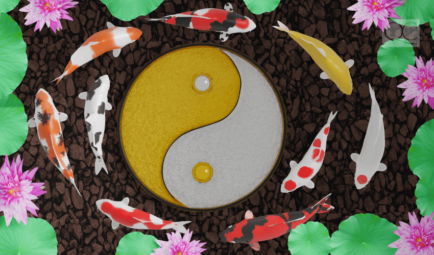 feng shui yin and yang symbol with fish swimming around it