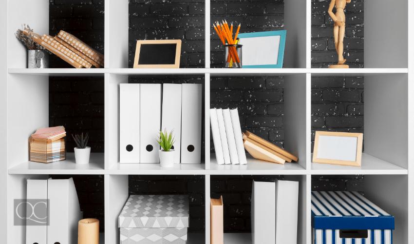 book shelf organized by certified professional organizer