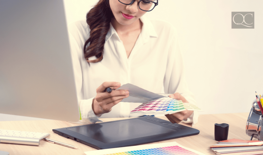 color consultant reviewing color wheel