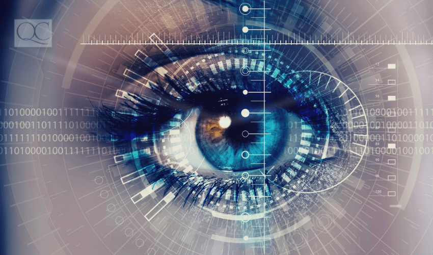 up-close of woman's eye as it processes visual information