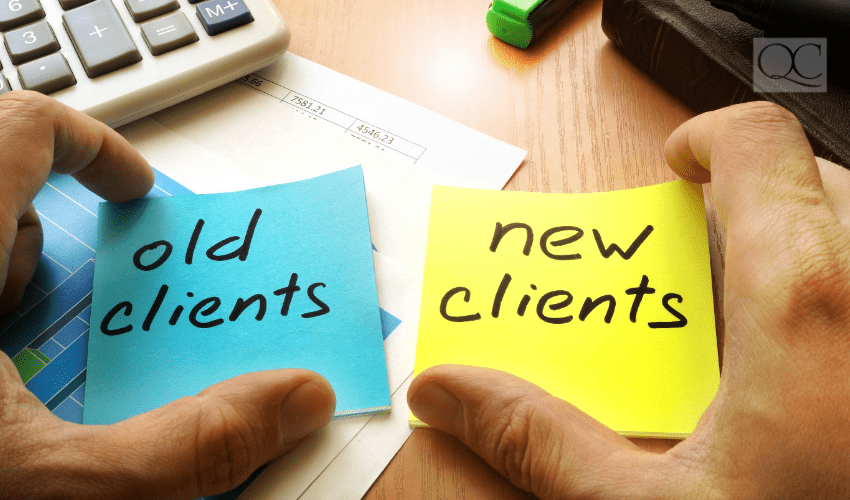 old clients, new clients on post-it notes