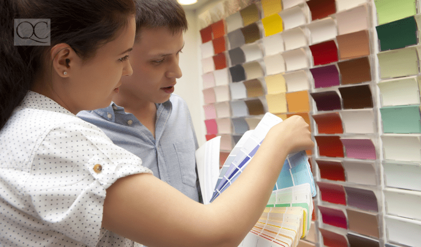 color consultant picking out colors in-person with client