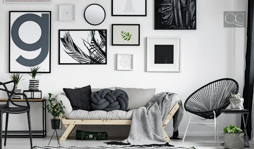 monochromatic-themed room with no clear focal point