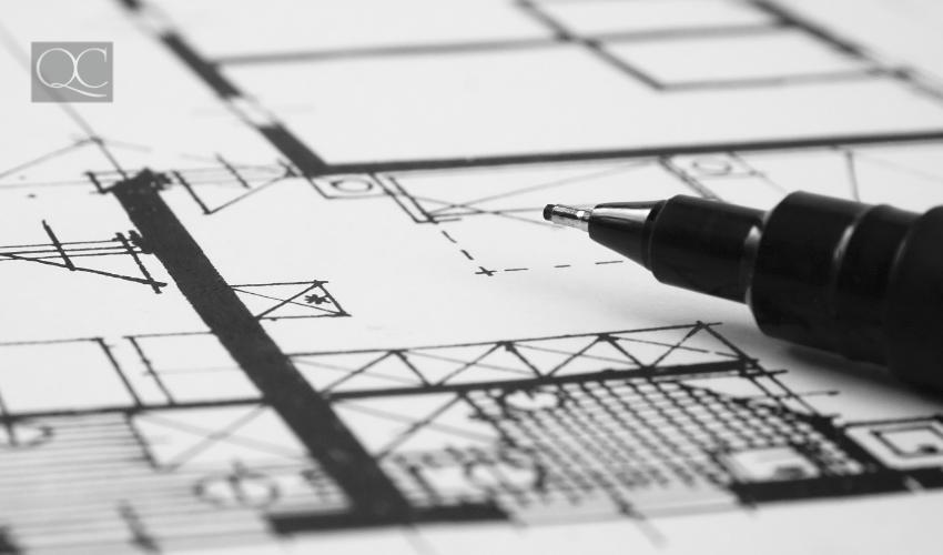 closeup of precision pen and floorplan