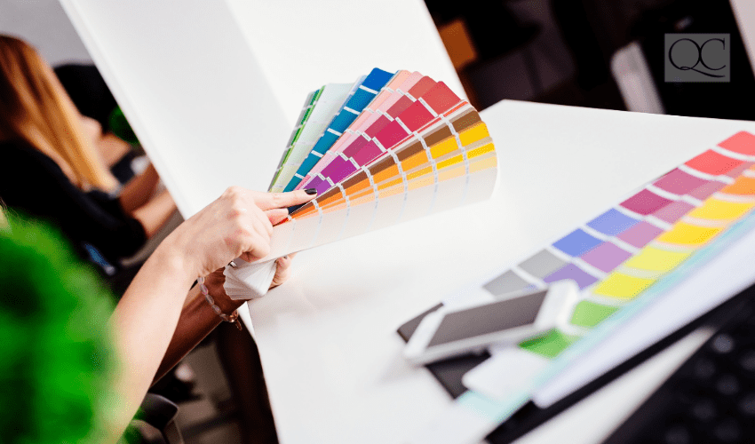 color consultant choosing from color swatches
