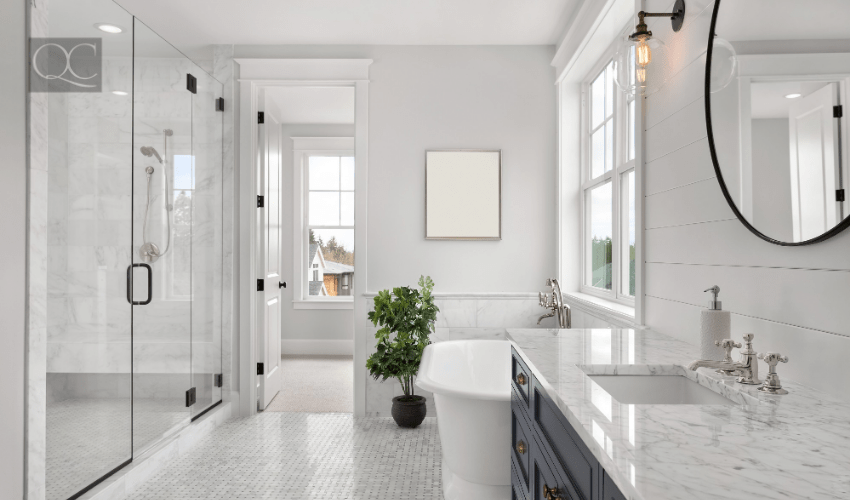 beautiful, modern gray bathroom interior