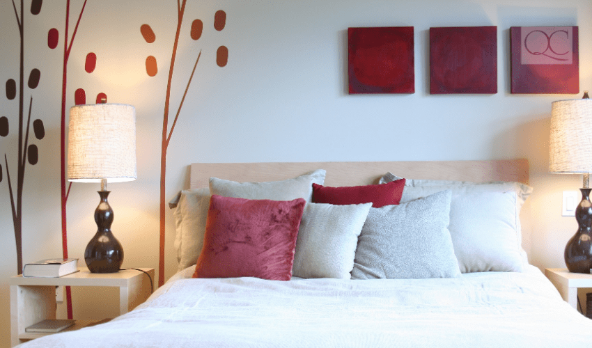 bedroom with red and white color accents
