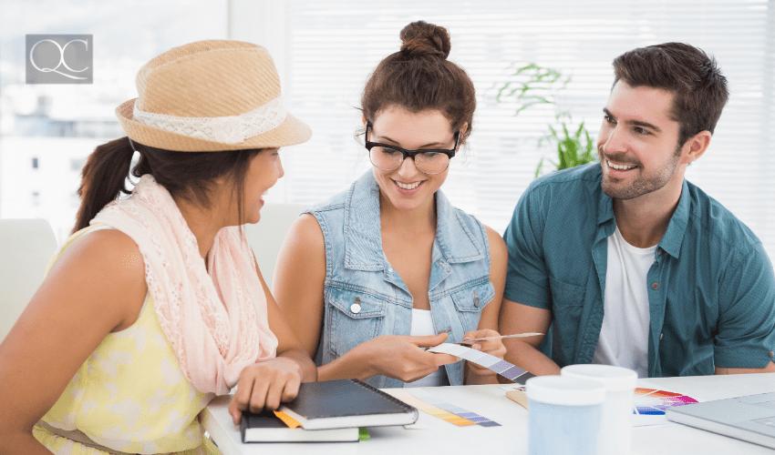designer having consultation with clients
