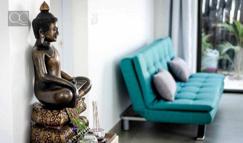Chinese statue in living room