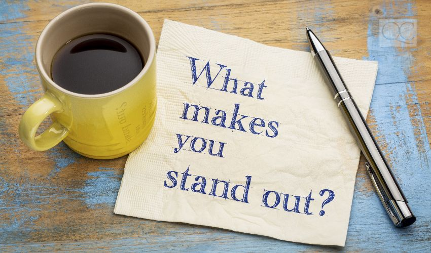 What make you stand out? Handwriting on a napkin with a cup of coffee