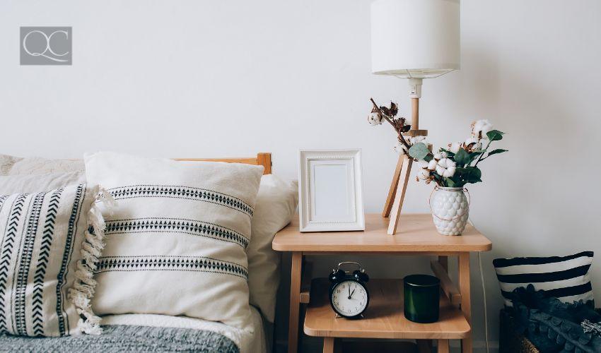 Interior cozy bedroom and comfortable bed in elegant classic bedroom