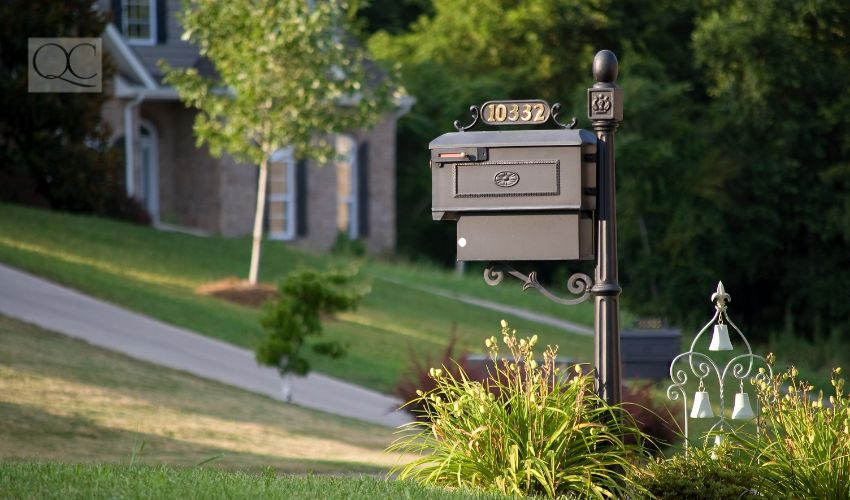 Up close shot of house's mailbox and house number