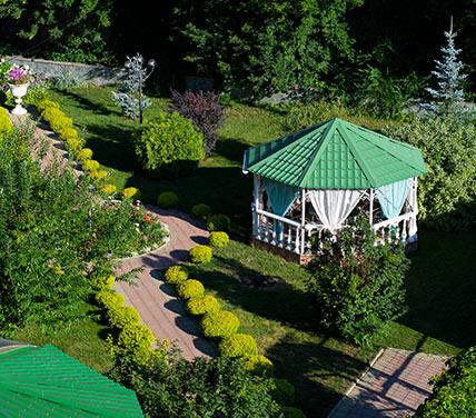Gazebo in botanical garden with pathway