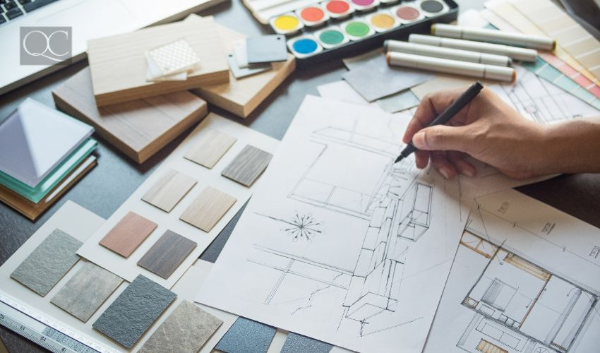 How to become an interior decorator, Architect designer Interior creative working hand drawing sketch plan blue print selection material color samples art tools Design Studio