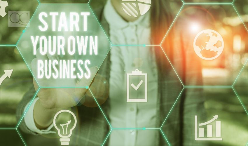 Writing note showing Start Your Own Business. Business photo showcasing Entrepreneurial Venture a Startup Enter into Trade Female human wear formal work suit presenting smart device.